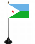 Djibouti Desk / Table Flag with plastic stand and base.